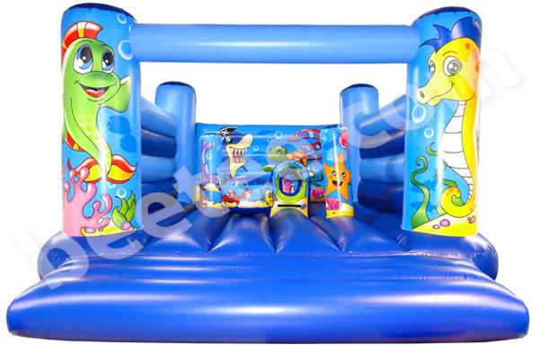 large low height bouncy castle with toys