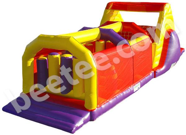 large inflatable obstacle course with slide